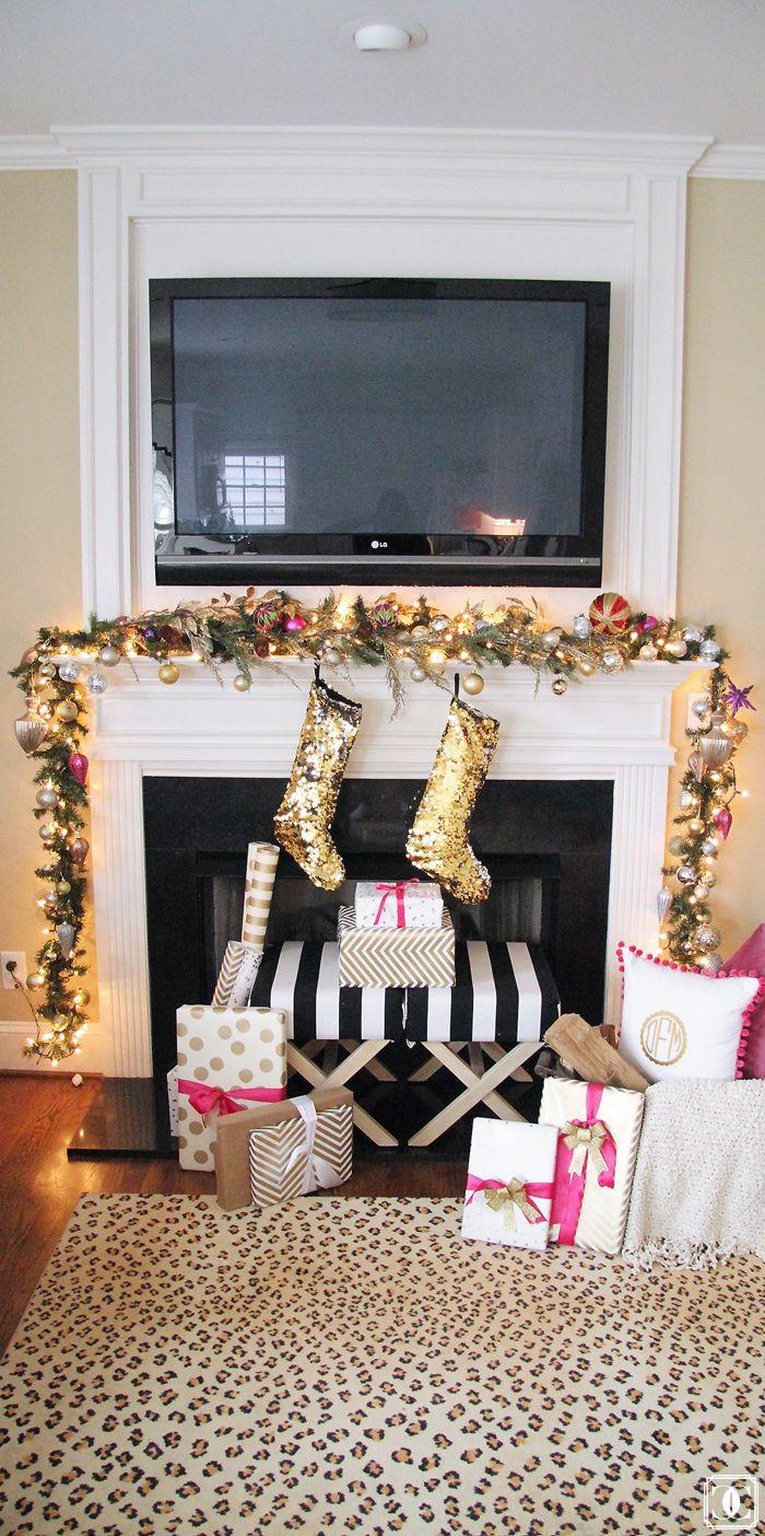 Holiday Home Tour   Fire place   Mantel Decor   Garland   Christmas Decor   Gift Wrap   Stockings www.styleyoursenses.com