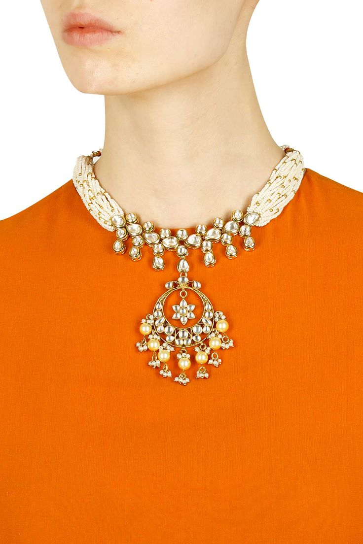 Gold finish pearl beaded and kundan stone necklace available only at Pernia's Pop Up Shop. .#perniaspopupshop #shopnow #newcollection ##happyshopping #accessories #anajalijain