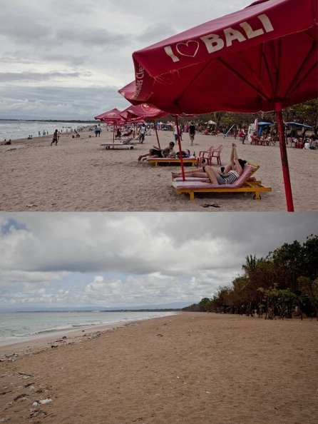 Kuta Beach before and when silence day .