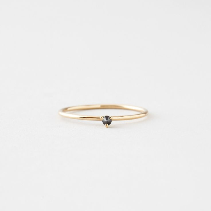 TINY SOLITAIRE RING WITH BLACK DIAMOND - Steven Alan