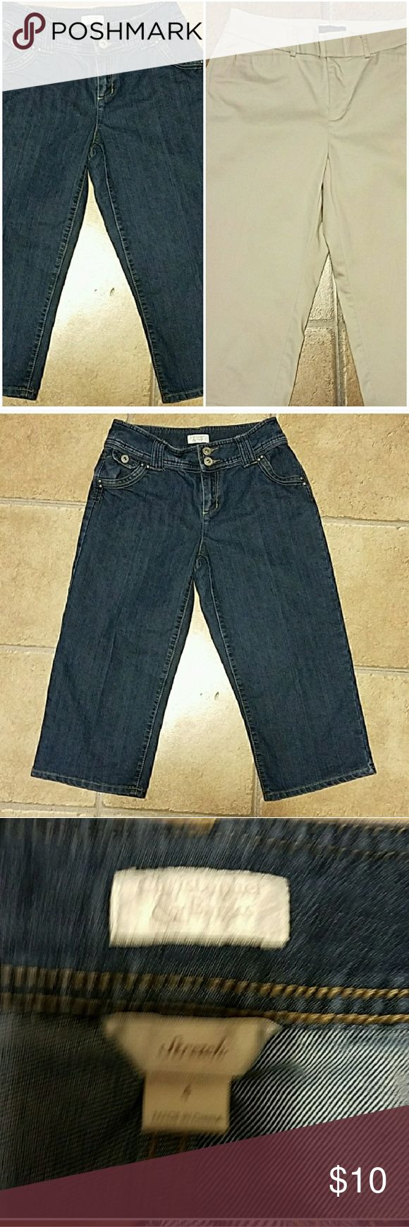 2 pairs of women's capri pants Included is 2 pairs of women's capri pants. One pair is Docker brand and is khaki colored. The other are Christopher and Banks and are jean capris. Both pairs have been worn but are an excellent preowned condition. Pants Capris
