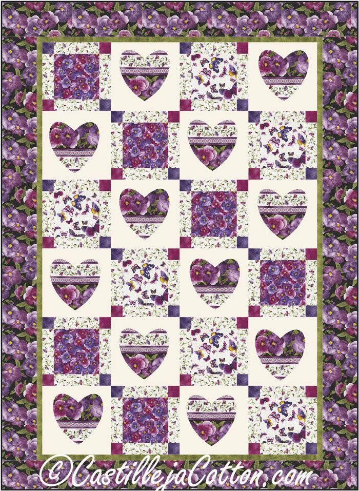 Easy lap and throw quilt pattern that uses a pre-printed panel. Hearts & Squares Quilt Pattern ...