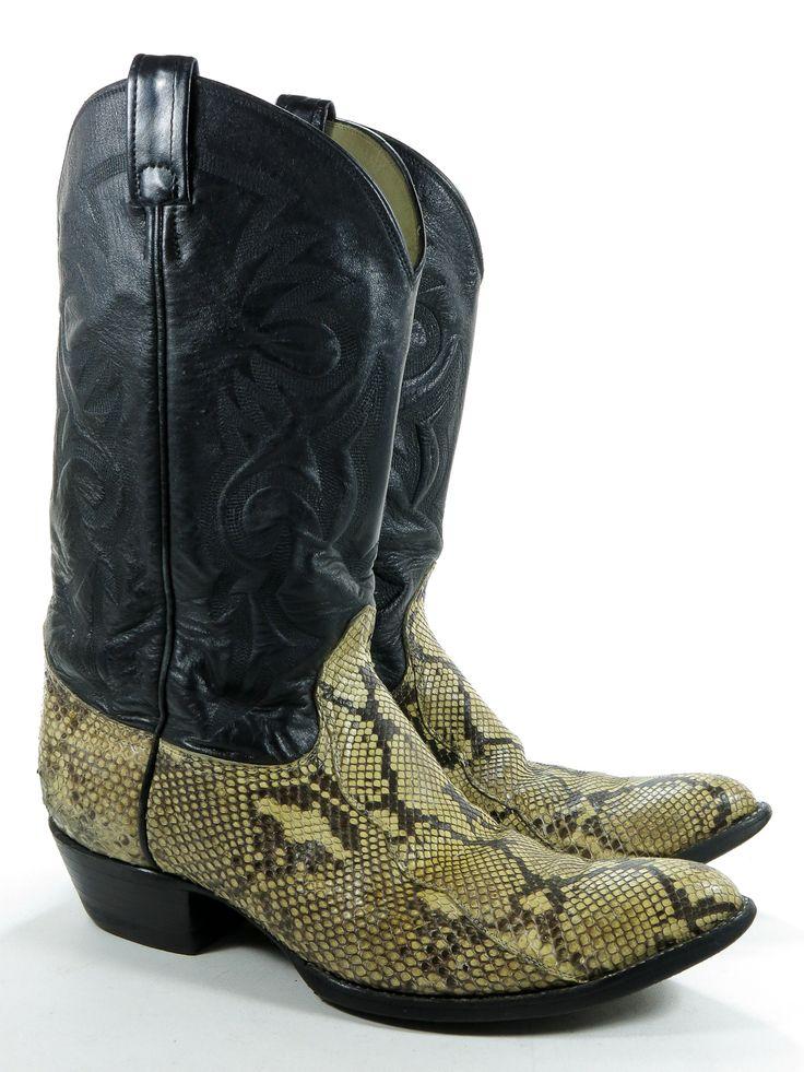 Remington 12 D Mens Cowboy Boots Black Leather Diamondback