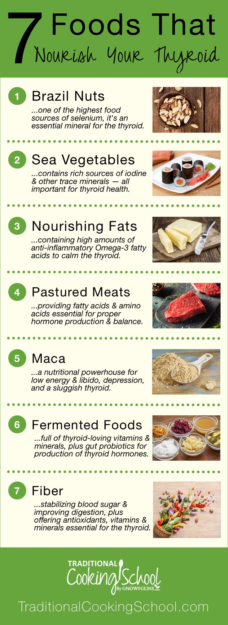 7 Foods That Nourish Your Thyroid   Gaining weight? Feeling depressed or sluggish? Is your hair falling out? Have you experienced strange or irregular heartbeats? Can't sleep? All roads might lead to your thyroid. Thyroid problems can be genetic, and though you can't control your genes, you can control your diet and lifestyle. Nourish your thyroid with these 7 foods!   TraditionalCookingSchool.com