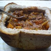 "Bunny Chow.  ""a special dish found in Durban South Africa with a touch of magic and Indian beauty"