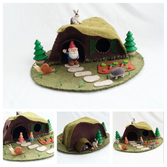 Rabbit Hill Cottage Playscape Play Mat felt pretend open-ended storytelling fantasy storybook fairytale Dollhouse unisex gnome home fairy