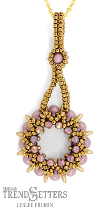 Holiday Workshop 2016 | Crescent Blossom Pendant and Bail by Leslee Frumin | CzechMates Crescent, MiniDuo, Firepolish beads