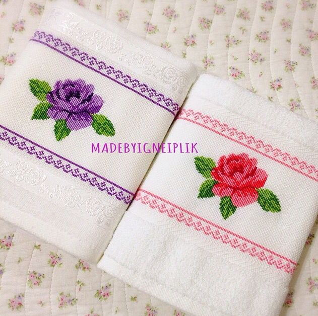Cross stitch rose towel