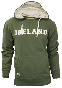 Olive Hoodie with Ireland Applique