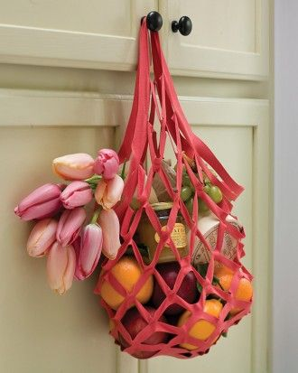 DIY No-Sew Market Tote Bag - easily fits in your purse but strong enough to carry fruits and veggies :-)