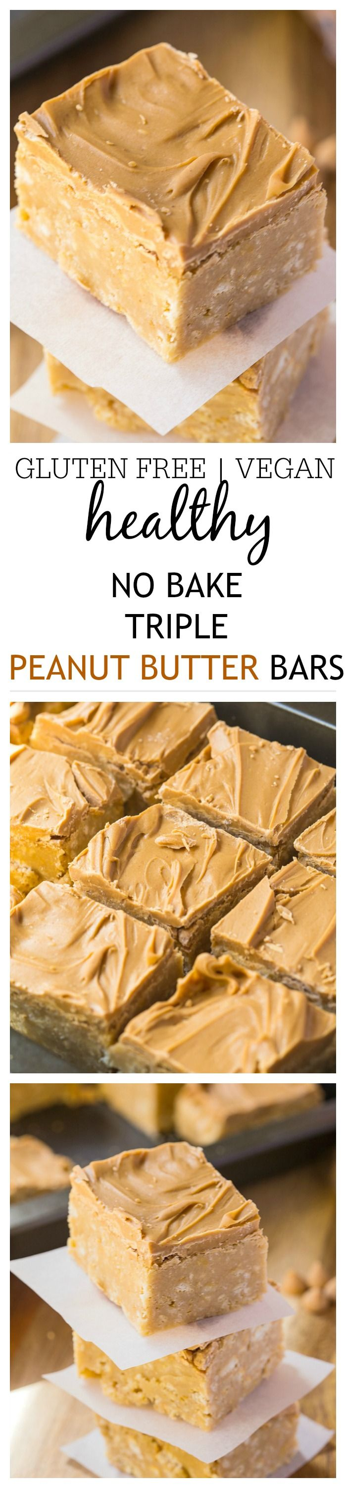 These healthy no bake triple peanut butter bars are the perfect treat or dessert for any peanut butter lover out there- Easy, no baking and impressive! {vegan + gluten free}