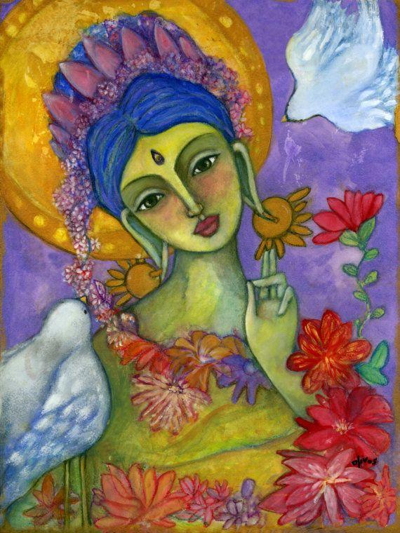 Buddhist wall art  Green Tara  Goddess of Compassion