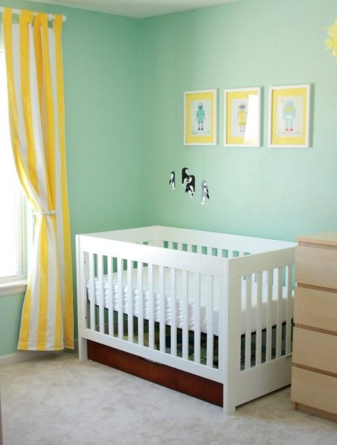Yellow & aqua nursery  My nursery is already this color.  I could change out the chocolate curtains for spring and summer :) AND NO CRIB BUMPERS = SAFE SLEEP!