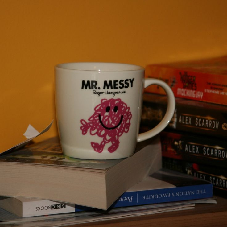 Mr Messy Mug  Is he domestically challenged? Tease him with this mug – perfect for the Mr Messy in your life  Wording on the front: Mr. Messy  Wording on the back: You could always tell where Mr Messy had been because he left a trail of messy fingerprints wherever he'd been. Oh yes, Mr Messy was messy by name, messy by nature  The mug meaures H 8.5cm x 8.5cm dia. and is dishwasher safe  Gift boxed