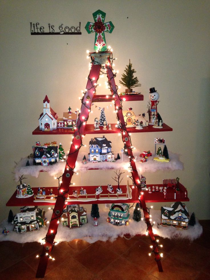 Old Wooden Ladder Snow Village Found The Ladder At The