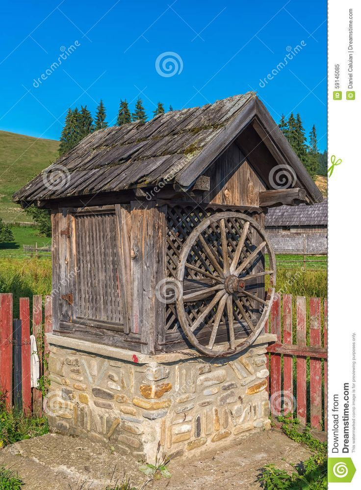 Old Wooden Water Well House In Bucovina Romania Stock Photo Water Well House Water Well Pump House