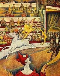 <조르주 쇠라_서커스> 드가가 그린 '페르난도 서커스의 라라 양'을 보고 문득 이 그림이 떠올렸다. 구도나 주인공은 다르지만 서커스의 역동성이 두 작품에서 공통적으로 나타난다. 이 그림 역시 말을 타면서 묘기를 보는 서커스 단원의 모습이 그대로 살아 움직이는 것처럼 느껴진다.