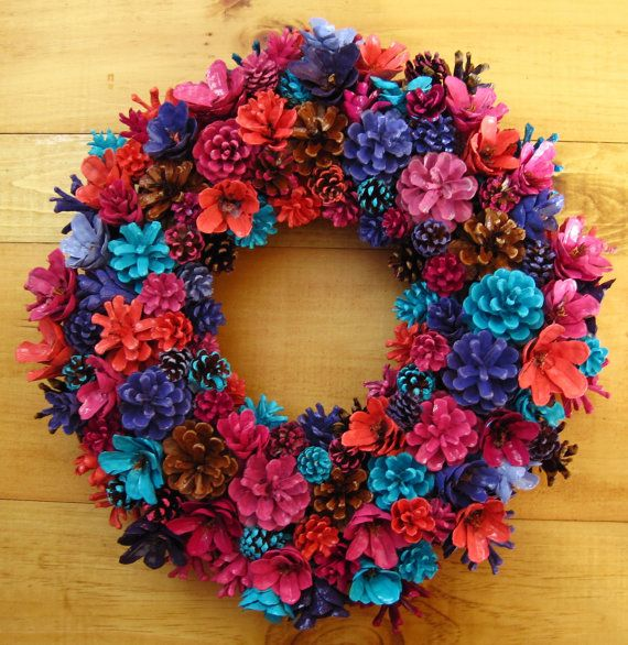 Handmade Natural Fall Colors Pine Cone Wreath Center by EacArt
