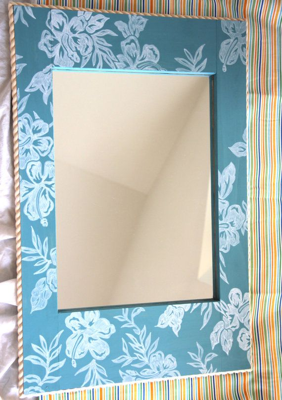 Handpainted Tropical Wall Mirror by Sisters4Style on Etsy, $75.00