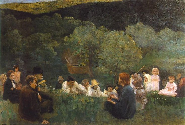 Károly Ferenczy (Hungarian 1862–1917) [Impressionism, Realism, Academicism] Sermon on the Mount, 1896. Hungarian National Gallery, Budapest.