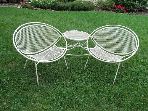 Salterini Tete A Tete Wrought Iron Patio Clam Shell Chair