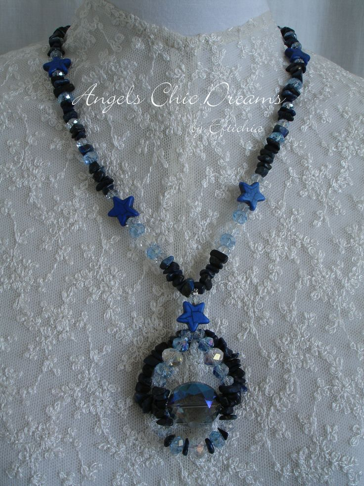 NECKLACE WITH PRECIOUS STONES CRYSTAL AND LAPIS CHAOLITES...