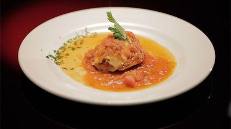 Chorizo Stuffed Calamari with Tomato and Garlic Sauce