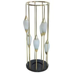 1950s Italian Brass Cage Lamp Pedestal Stand