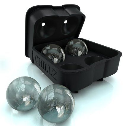 Chillz Ice Ball Maker Mould - Black Flexible Silicone Ice Cube Tray - Molds 4 X…