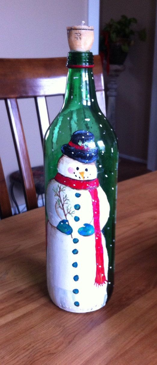 Snowman hand painted wine bottle with candle for Painted wine bottles