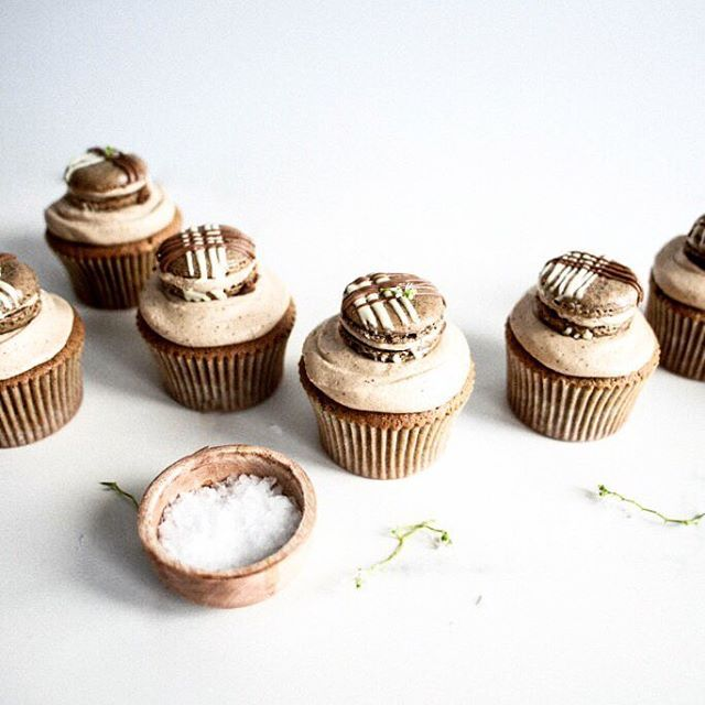 the recipe for these little caf au lait macaron cupcakeshellip /