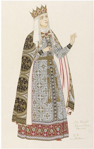 theshipthatflew:    Ivan Bilibin, Design for the costume of Yaroslavna, 1930, Watercolor, body-color, gold and silver paint (VAM)