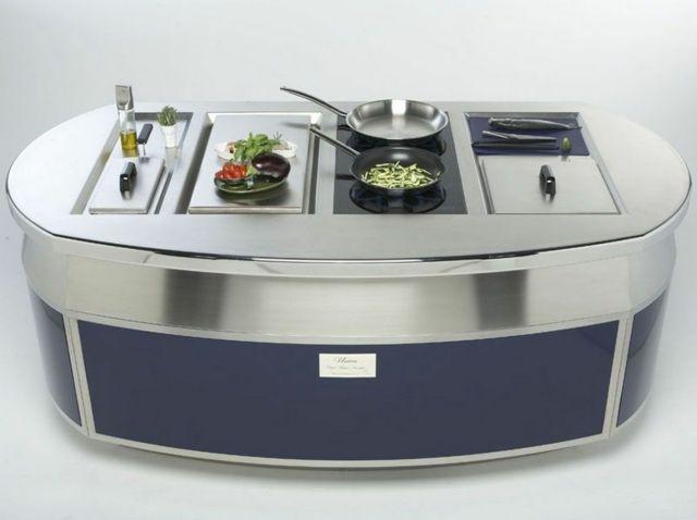 Edelstahl Kücheninsel Oval Futuristische Form