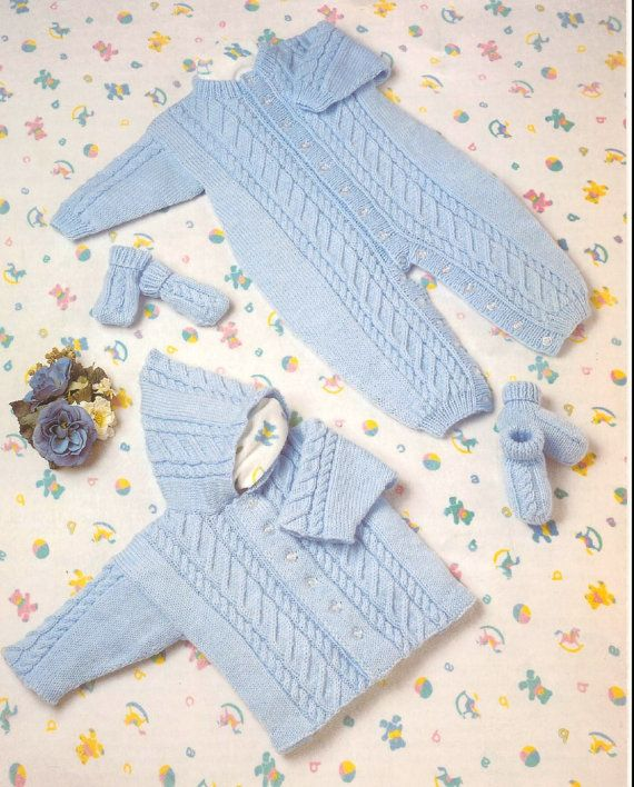 Vintage Baby Knitting PATTERN - All in One Romper, Hooded Jacket, Mitts and Bootees Prem to 2 years