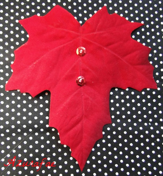 Red Velvet Maple Leaf Hair Clip with Red Sequins by Azurafae