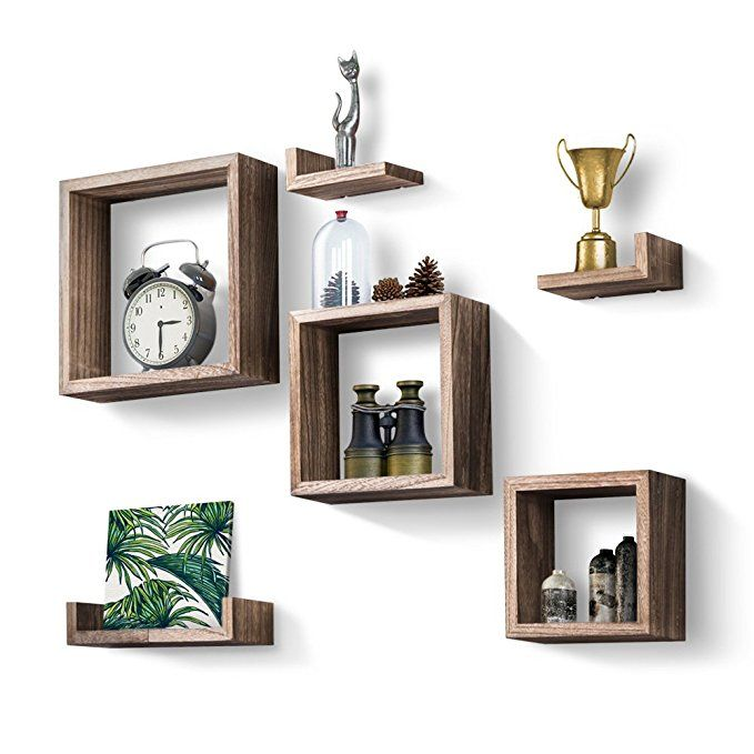 Love Kankei Floating Shelves Set Of 7 Rustic Wood Wall Shelves With 3 Square Boxes And 4 Small L S Floating Wall Shelves Floating Shelves Diy Floating Shelves