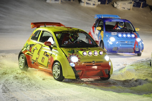 Valentino Rossi & Fernando Alonso - Fiat 500 ice race @ Wrooom 2012
