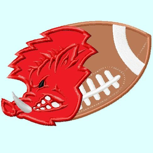 Wild Hog Football ball Version#2 Embroidery Designs 4 sizes  INSTANT DOWNLOAD