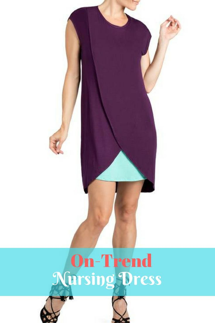 This stretch-infused sheath in a rich purple hue features a tulip-shaped skirt that allows a slip of turquoise to show through, while hidden nursing panels provide convenience once baby arrives. #nursing #breastfeeding #dress #fashion #style #ontrend #affiliate #mom