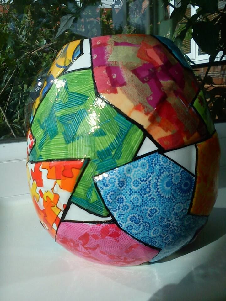 Large ceramic vase with patch work decoupage...very funky and unusual..