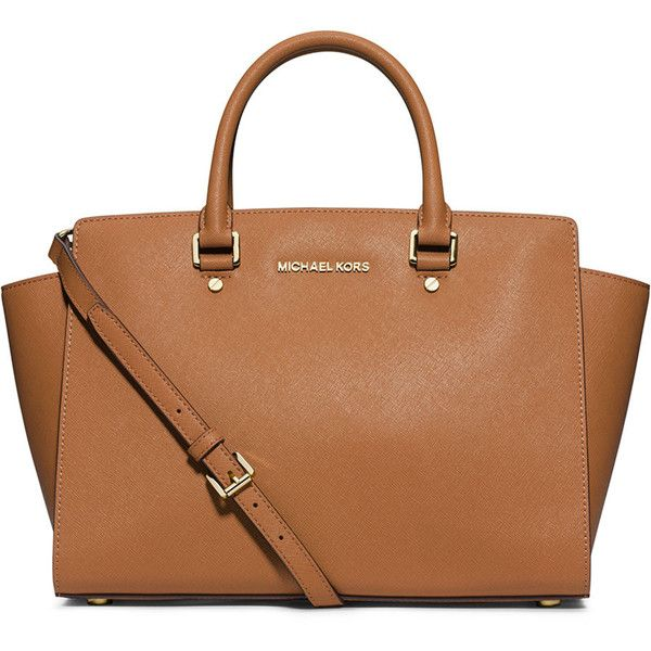 MICHAEL Michael Kors Selma Large Saffiano Satchel Bag Peanut found on Polyvore