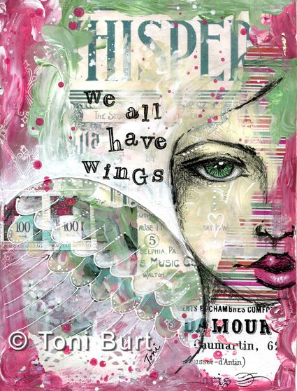 """""""we all have wings"""" mixed media art page from my art journal, old vintage papers and ephemera, acrylic paint, graphite pencil and stamps - art journaling."""