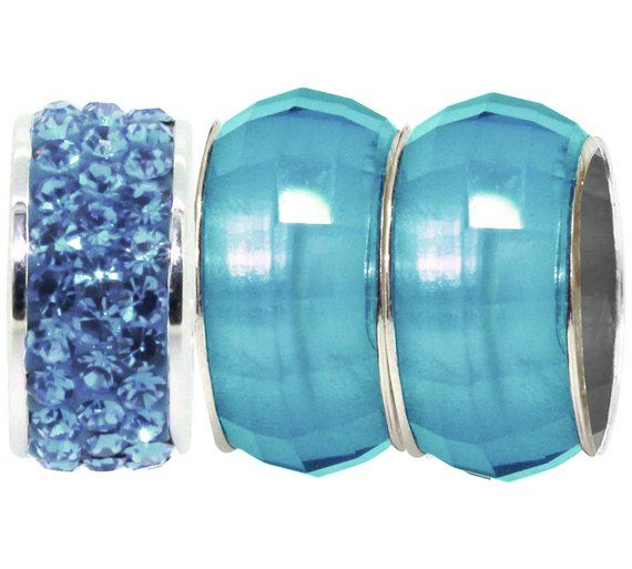 Buy Link Up Aqua Bead and Crystal Charms - Set of 3 at Argos.co.uk, visit Argos.co.uk to shop online for Ladies' beads and charms, Ladies' charm bracelets and beads, Ladies' jewellery, Jewellery and watches