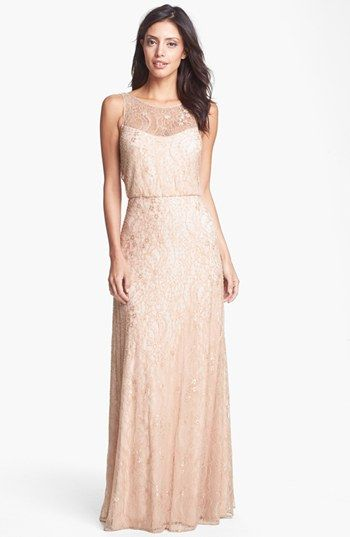 Aidan Mattox Embellished Lace Gown available at #Nordstrom #blush #wedding $395