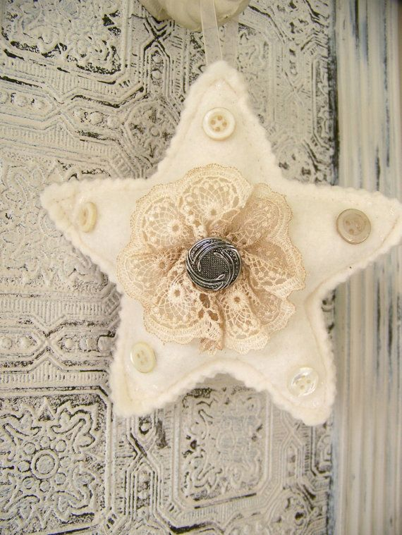 Vintage Ornament Winter White and Silver Felted Star Vintage Christmas Ornament