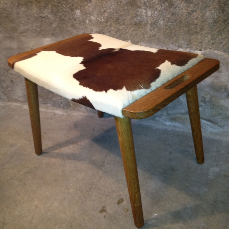 Danish Foot Stool With Cowhide By 2 B Modern