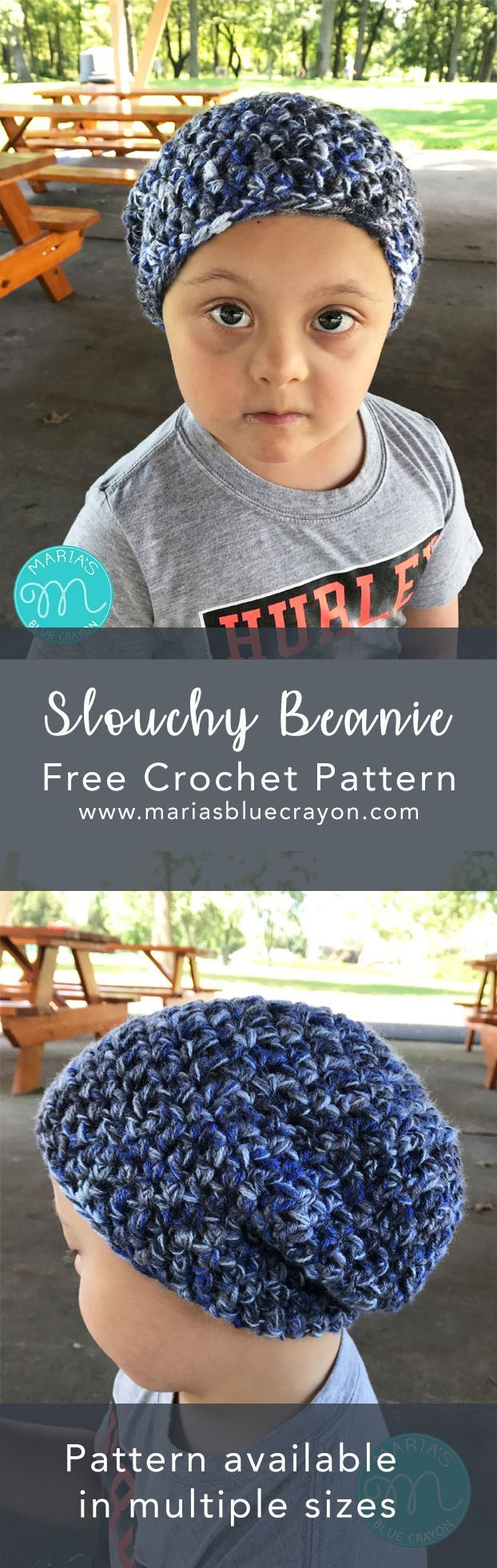 Crochet Slouchy Beanie | Free Crochet Pattern | Basic Beginner Stitches