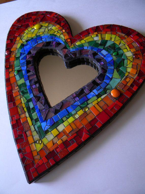 Rainbow Heart Mosaic Mirror Original Art by TheMosartStudio, $225.00