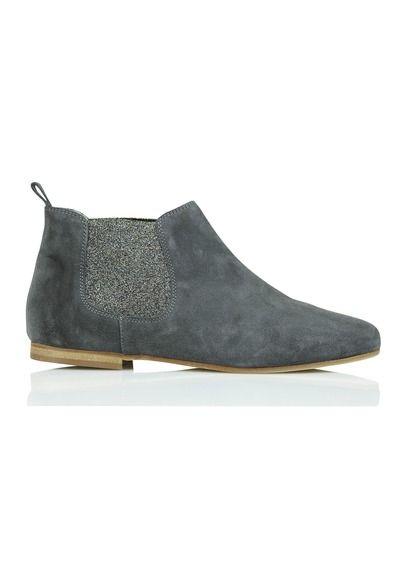 Boots plates en cuir suédé avec paillettes Gris by ANNIEL
