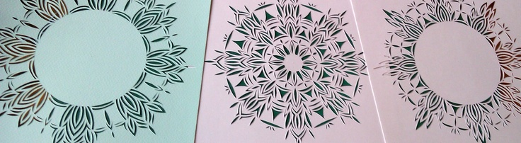 Snowflakes hand cut designs, Clare Pentlow